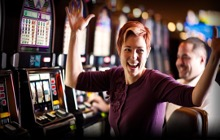 A picture containing text, person, indoor, slot machine  Description automatically generated